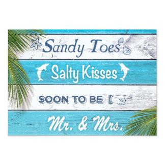 La turquesa Sandy toca con la punta del pie al Invitación 12,7 X 17,8 Cm