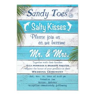 La turquesa Sandy toca con la punta del pie besos Invitación 12,7 X 17,8 Cm