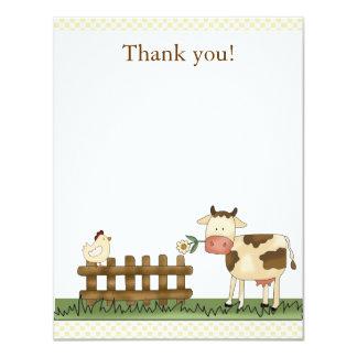 La vaca dulce casera de la granja le agradece invitación 10,8 x 13,9 cm