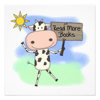 La vaca leyó más libros invitacion personalizada