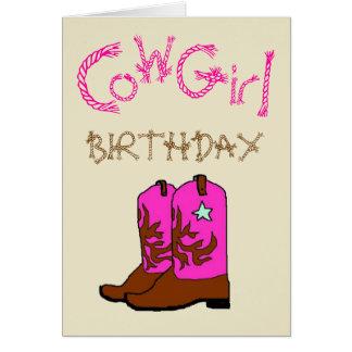 La vaquera rosada patea la invitación del tarjeta de felicitación