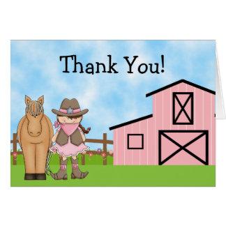 La vaquera y el caballo lindos le agradecen cardar tarjeta pequeña