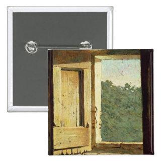 La ventana (aceite en lona) chapa cuadrada 5 cm