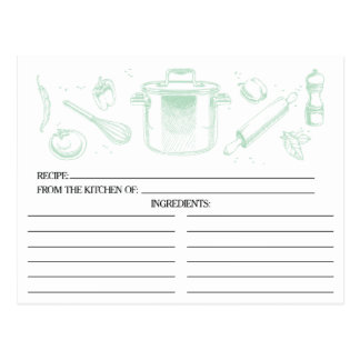 La verde menta bosquejó tarjetas de la receta de