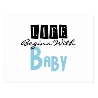 La vida azul comienza con el bebé tarjetas postales