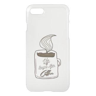 La vida comienza después de taza de café funda para iPhone 7