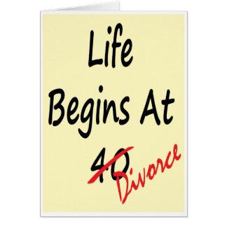 La vida comienza en 40 - tarjeta del divorcio