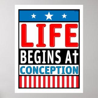 La vida comienza en el concepto posters