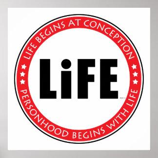 La vida comienza en el concepto póster