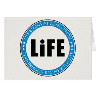 La vida comienza en el concepto felicitación