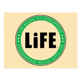 La vida comienza en el concepto tarjetas postales