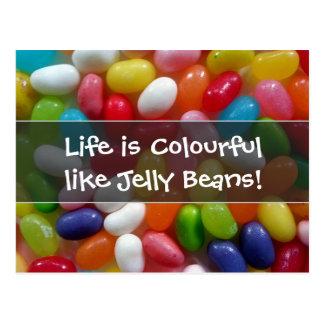La vida es colorida como habas de jalea postal