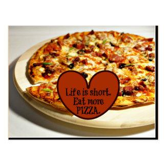 La vida es corta. Coma más pizza, Postal