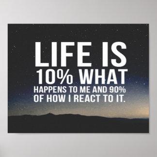 La vida es el 10% qué me sucede póster
