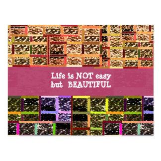 La vida es hermosa:  Texto Editable. Plantilla de  Tarjeta Postal