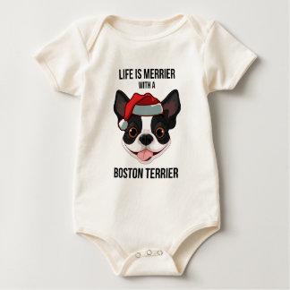 La vida es más feliz con una Boston Terrier Body Para Bebé