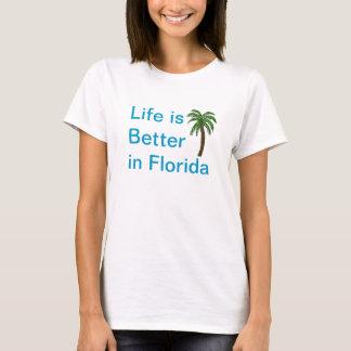 La vida es mejor en camiseta de la palmera de la