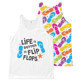 La vida es mejor en flips-flopes camiseta de tirantes con estampado integral