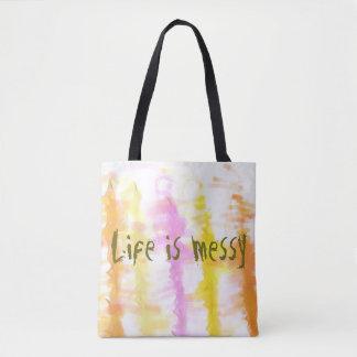 La vida es rayas abstractas sucias de la pintura bolso de tela