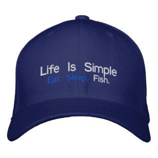 La vida es simple, come. Sueño., pescados Gorras De Beisbol Bordadas