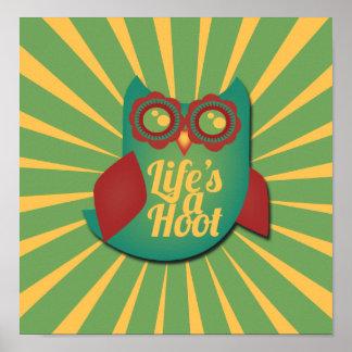 La vida es un búho de pitido posters