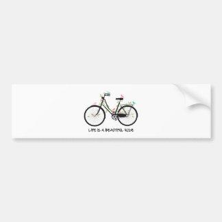 La vida es un paseo hermoso, bicicleta del vintage pegatina para coche