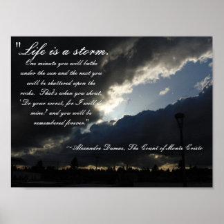 La vida es un poster de la cita de la tormenta póster