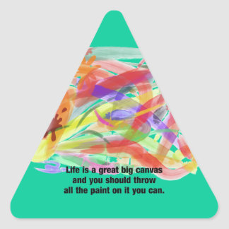 La vida es una lona calcomania de triangulo