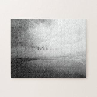 La vida es una playa - foto tipográfica blanco y puzzle