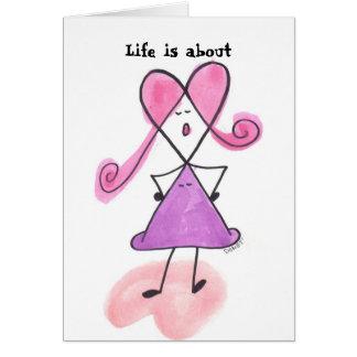 La vida está sobre despertar con una cubierta tarjetas