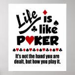 La vida tiene gusto del poster del póker