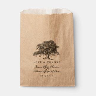 La vieja colección del boda del roble del vintage bolsa de papel