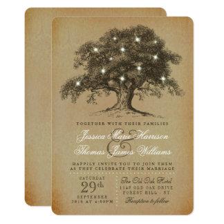 La vieja colección del boda del roble del vintage invitación 12,7 x 17,8 cm
