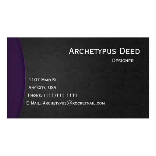 La violeta en gris curva el estilo 3 de la tarjeta tarjeta de negocio