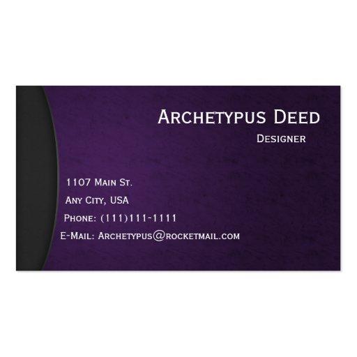 La violeta en gris curva el estilo 4 de la tarjeta tarjetas personales