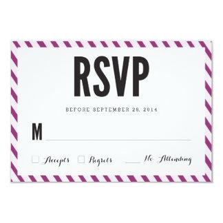 La violeta raya la tarjeta de la respuesta de RSVP Invitación 8,9 X 12,7 Cm