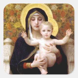 La Virgen de los lirios - pegatina del navidad