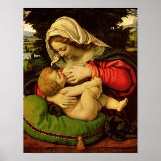 La Virgen del amortiguador verde, 1507-10 Póster