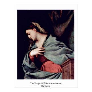 La Virgen del anuncio por Titian Postal