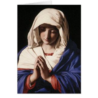 """""""La Virgen en rezo"""" por Sassoferrato (1640) Tarjeta De Felicitación"""
