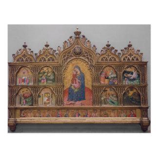 La Virgen y el niño con escenas legendarias Postal