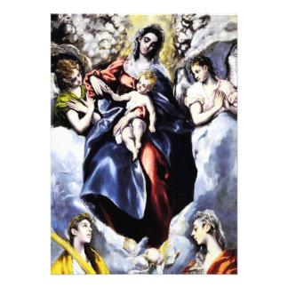 La Virgen y el niño con las invitaciones del St. M Comunicado Personalizado