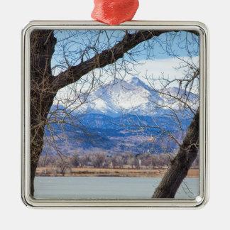 La visión a través de los árboles desea pico adorno navideño cuadrado de metal