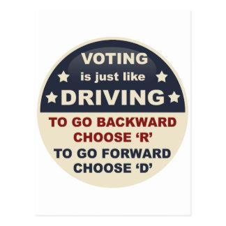 La votación es apenas como la conducción postal