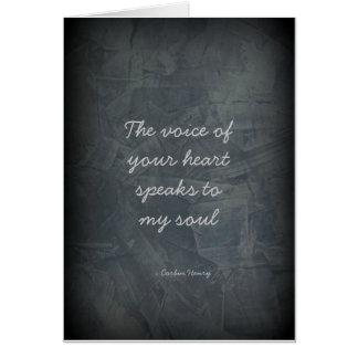La voz de su corazón - gris de pizarra tarjeta de felicitación