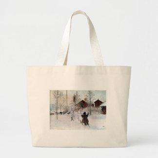 La yarda y el Lavado-House, Carl Larsson Bolsa De Tela Grande