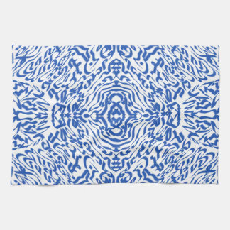 Laberinto azul y blanco paño de cocina