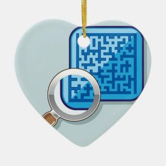 Laberinto bajo vector de la lupa adorno navideño de cerámica en forma de corazón