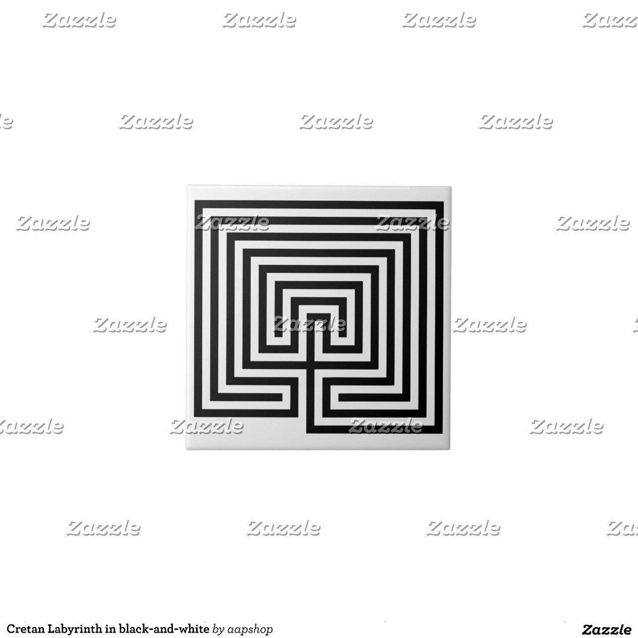 Laberinto del cretan en blanco y negro azulejo zazzle for Azulejo a cuadros blanco y negro barato