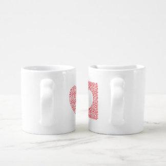 laberinto en forma de corazón set de tazas de café